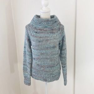 Anthro Moth Blue Chunky Knit Funnel Neck Sweater